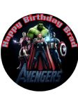 7.5  Avengers Assemble Personalised Edible Icing or Wafer Paper Cake Top Topper